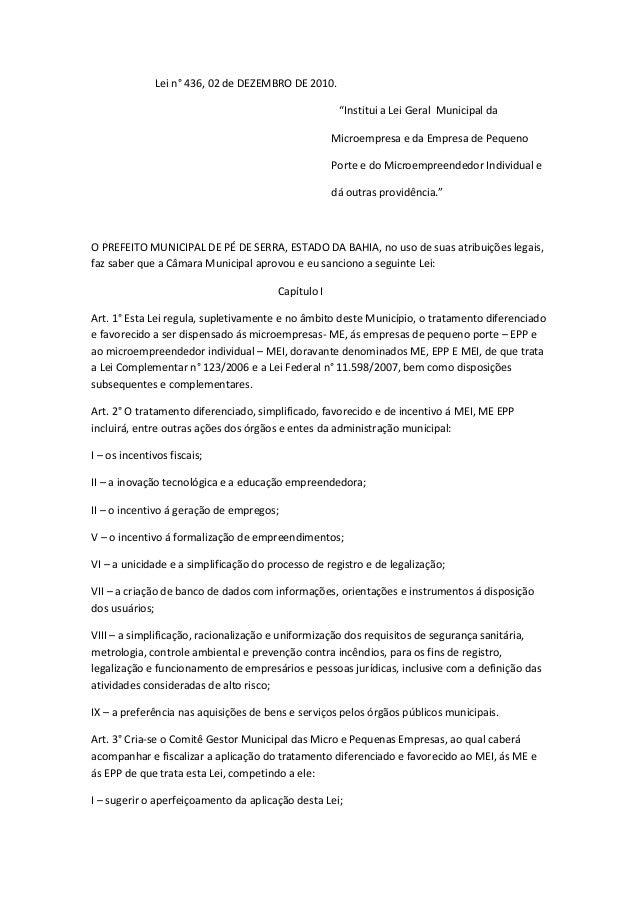 "Lei n° 436, 02 de DEZEMBRO DE 2010.                                                      ""Institui a Lei Geral Municipal d..."