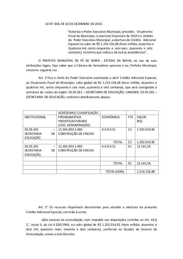 "LEI N° 438, DE 02 DE DEZEMBRO DE 2010.                             ""Autoriza o Poder Executivo Municipal, proceder, Orçame..."