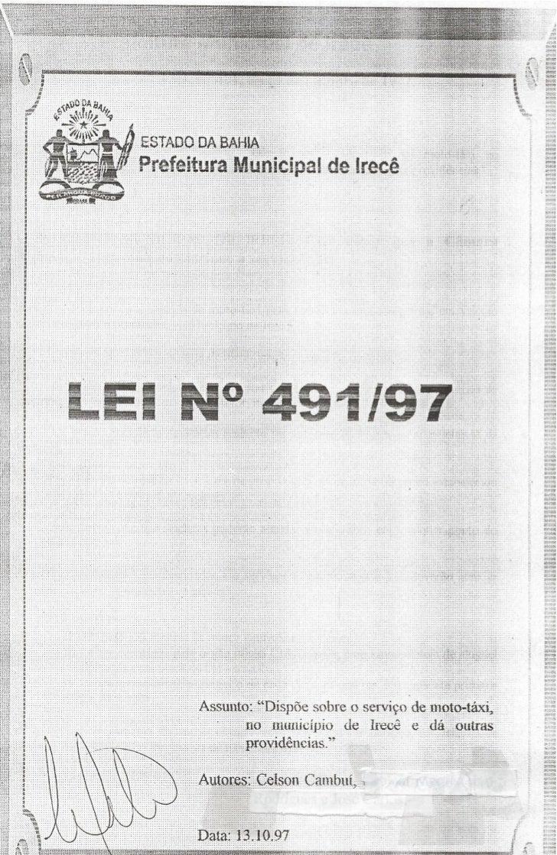 Lei n° 491/97 Autor: Vereador Celson Cambuí