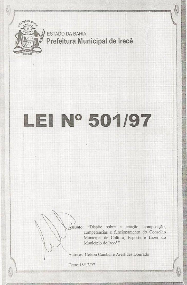 Lei N° 501/97 - Autor: Vereador Celson Cambuí