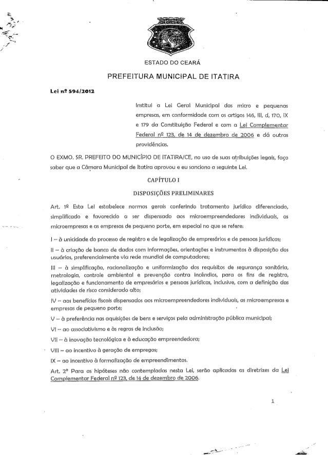 ESTADO DO CEARÁ  PREFEITURA MUNICIPAL DE ITAT1RA  tei nS 594/2012  Institui a Lei Geral Municipal das micro e pequenas  em...