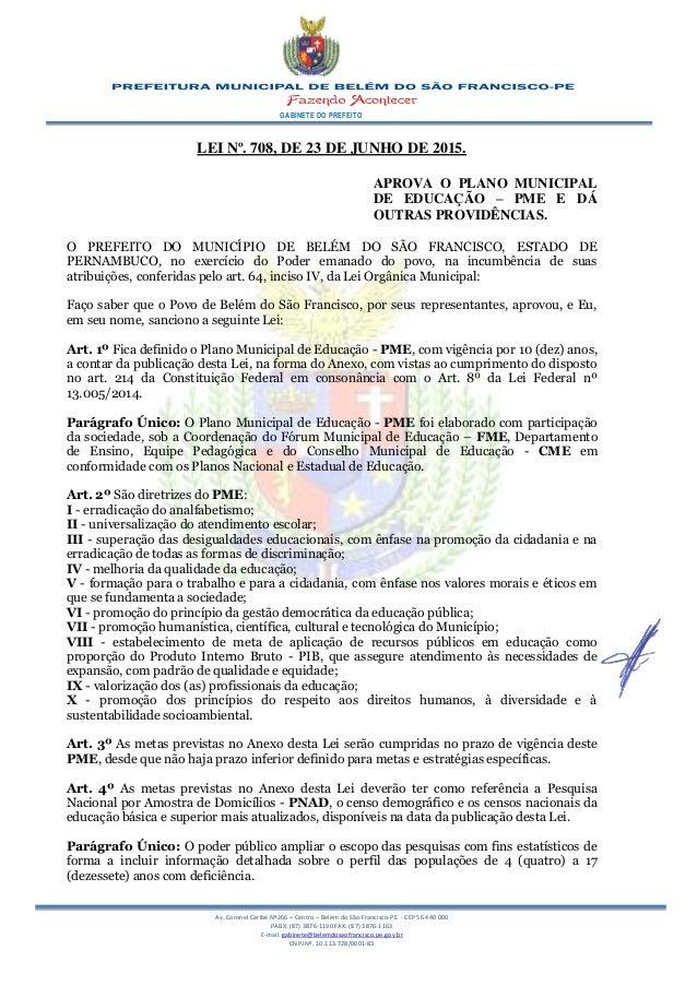 GABINETE DO PREFEITO Av. Coronel Caribé Nº266 – Centro – Belém do São Francisco-PE - CEP 56 440 000 PABX: (87) 3876-1190 F...