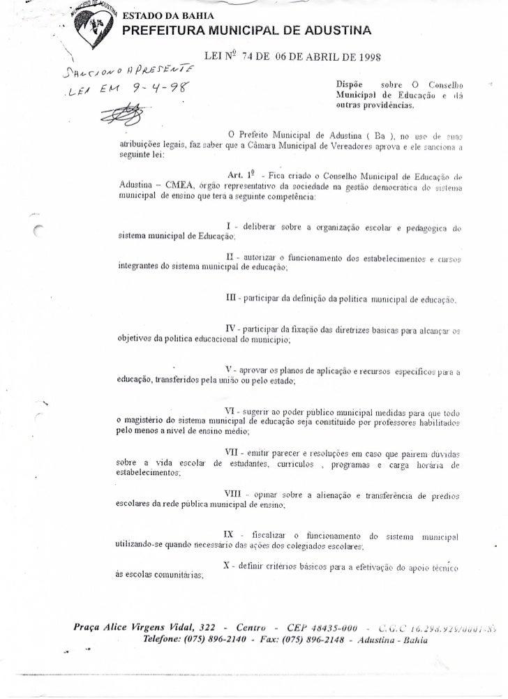 Lei nº 74 de 1998 Criação do CME   Adustina