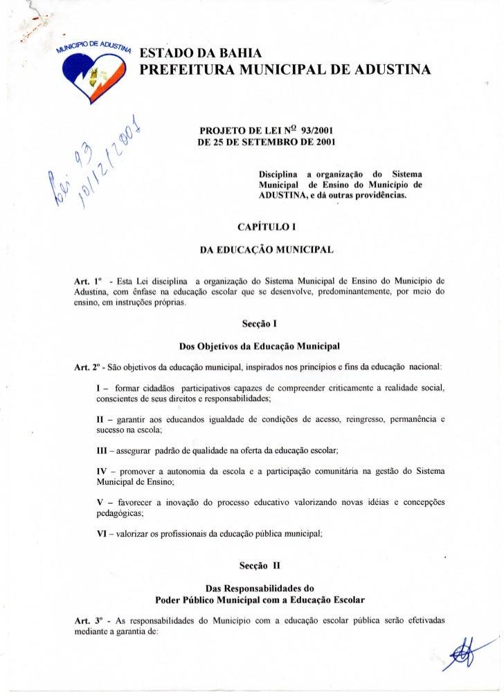 Lei nº 93 de 2001 Sistema Municipal de Ensino Adustina