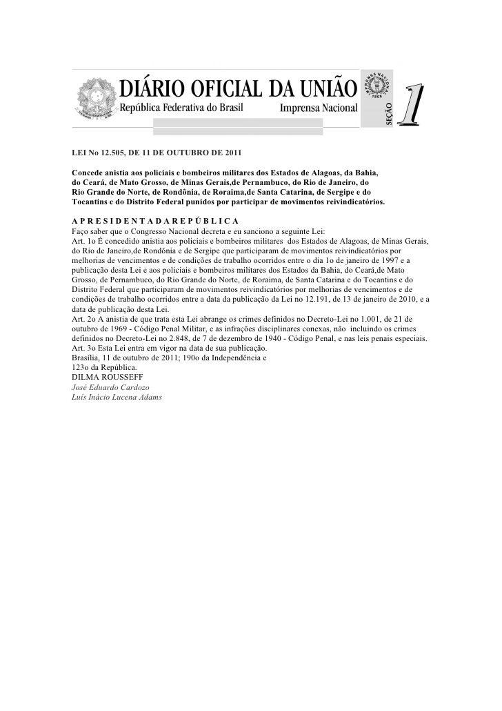 Lei no 12.505 anistia bombeiros e policiais
