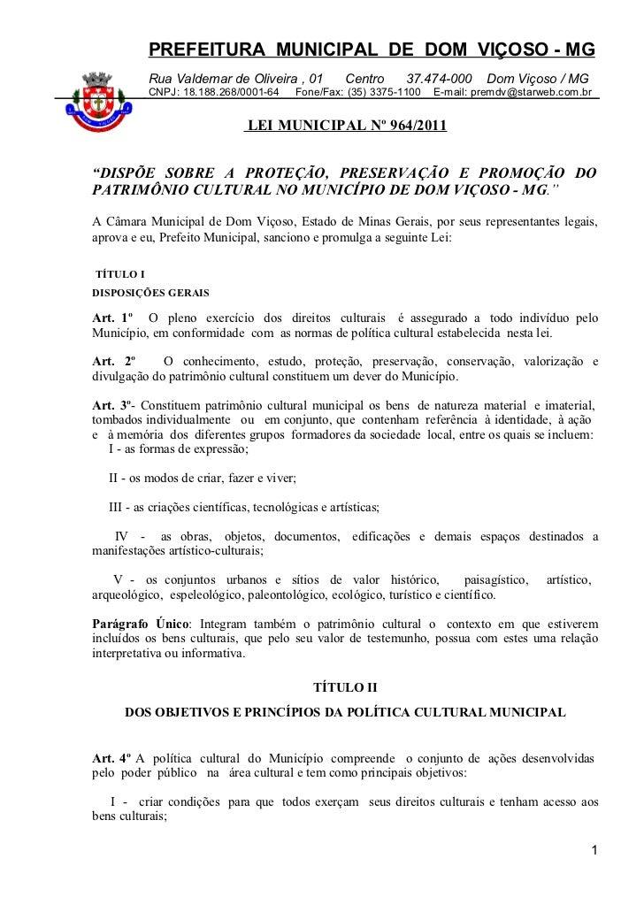 Lei nova municipal dom viçoso patrimônio cultura 964, 18 de maio de 2011