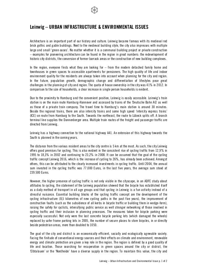! Leinwig – Urban Infrastructure and Environmental Issue p. 1 of 2 ! Leinwig – URBAN INFRASTRUCTURE & ENVIRONMENTAL ISSUES...