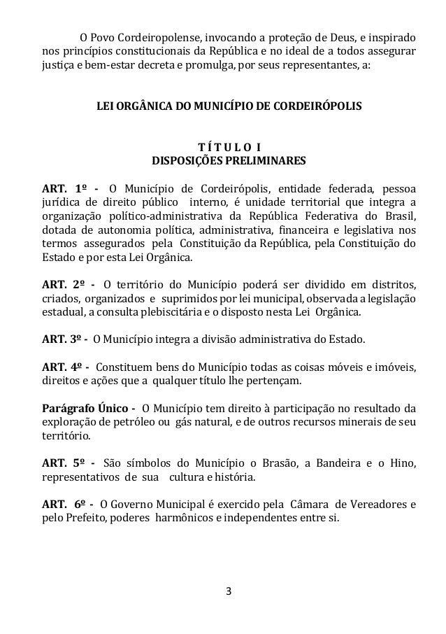 Lei Orgânica do Município de Cordeirópolis Slide 3