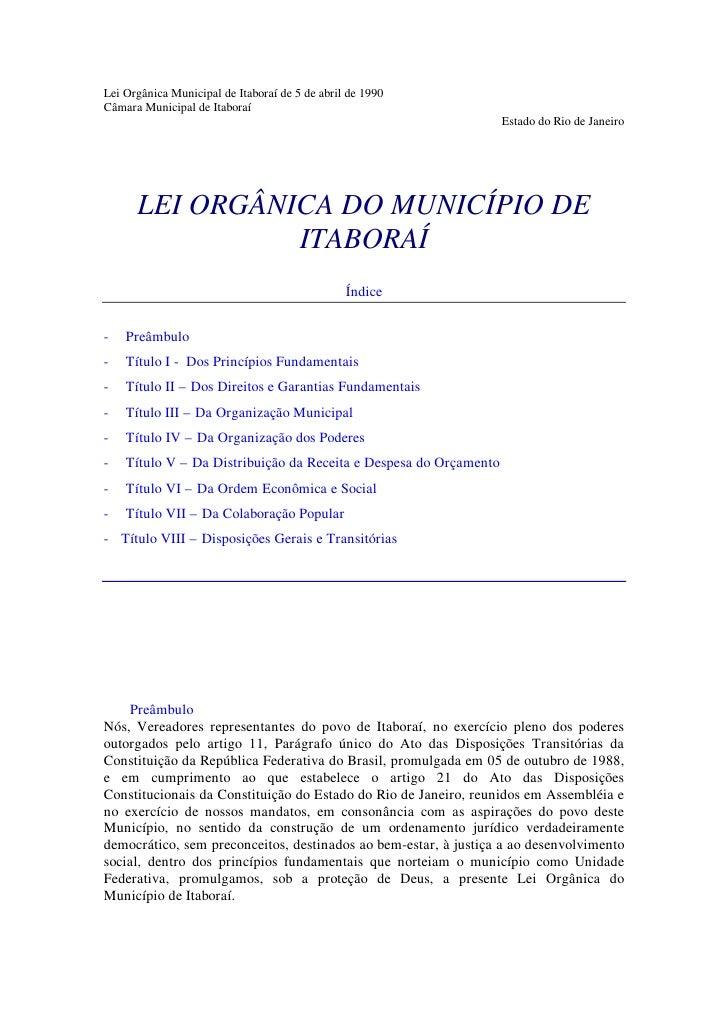 Lei Orgânica Municipal de Itaboraí de 5 de abril de 1990Câmara Municipal de Itaboraí                                      ...