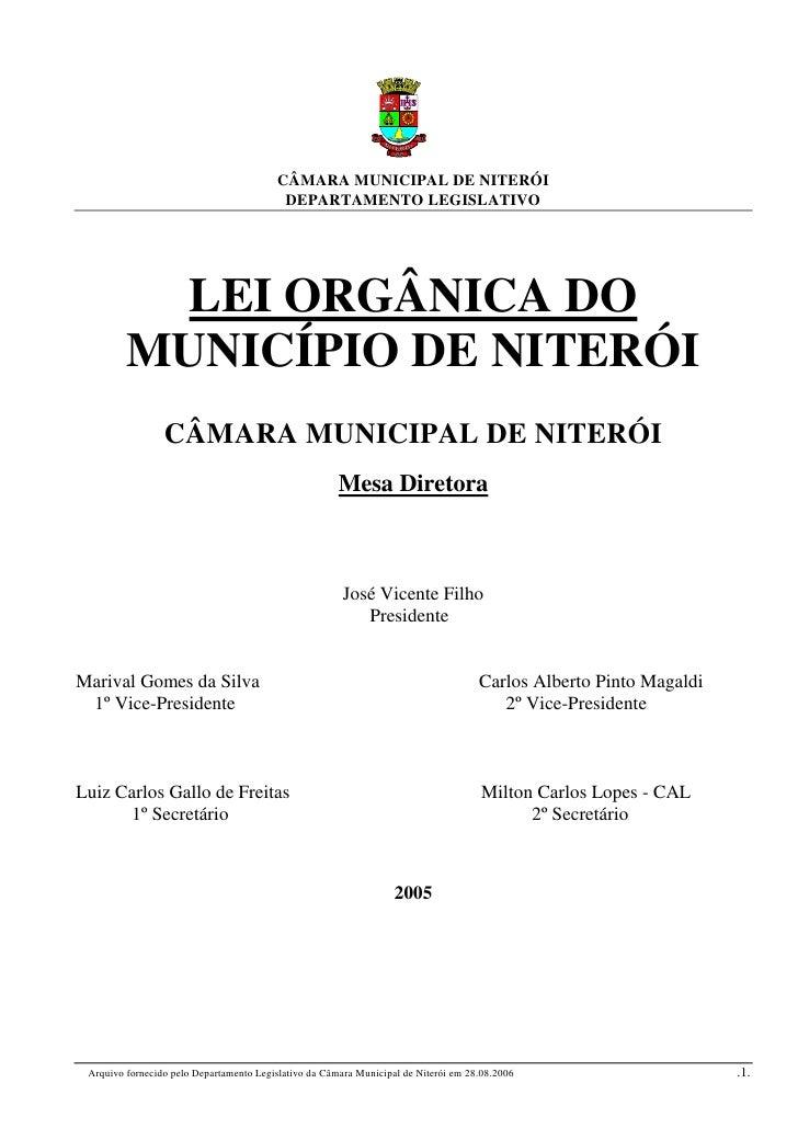 CÂMARA MUNICIPAL DE NITERÓI                                          DEPARTAMENTO LEGISLATIVO           LEI ORGÂNICA DO   ...