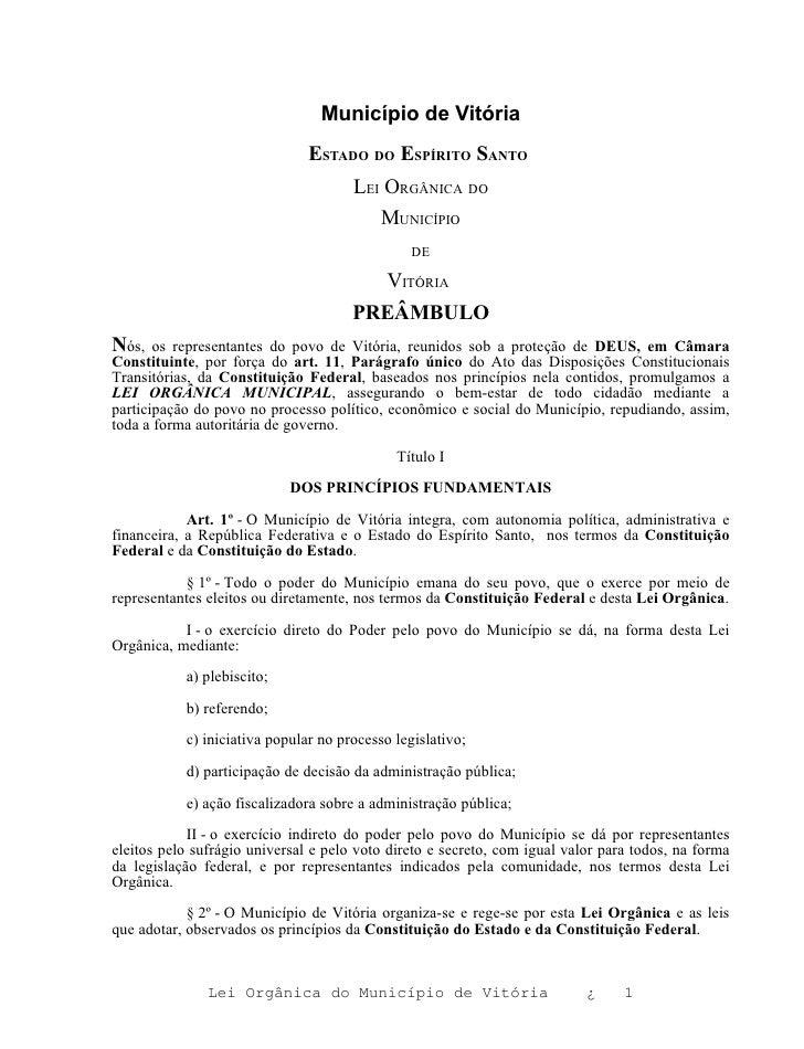 Município de Vitória                               ESTADO DO ESPÍRITO SANTO                                      LEI ORGÂN...