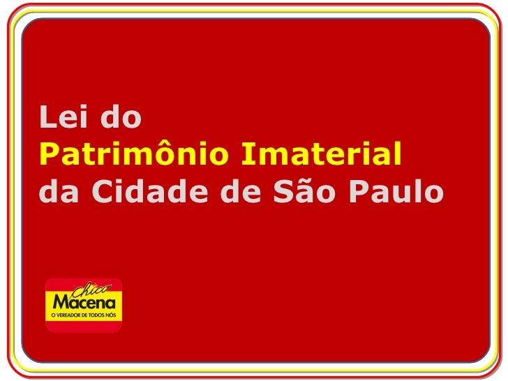 Lei do Patrimônio Imaterial da Cidade de São Paulo