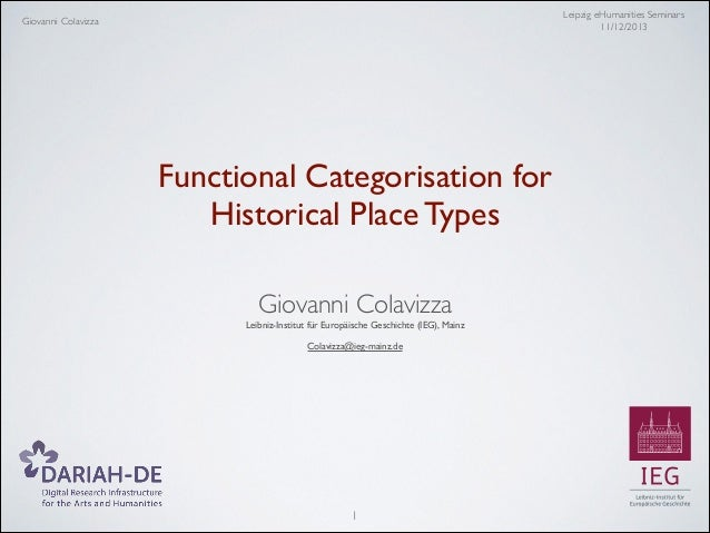 Leipzig eHumanities Seminars	  11/12/2013  Giovanni Colavizza  Functional Categorisation for 	  Historical Place Types 	  ...