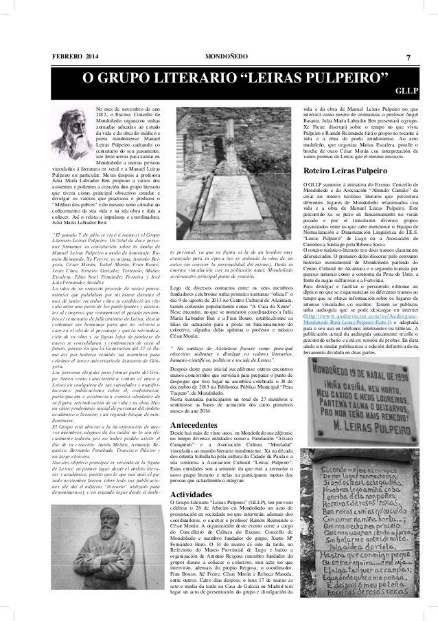"""FEBRERO 2014  MONDOÑEDO  7  O GRUPO LITERARIO """"LEIRAS PULPEIRO"""" GLLP vida e da obra de Manuel Leiras Pulpeiro no que inter..."""