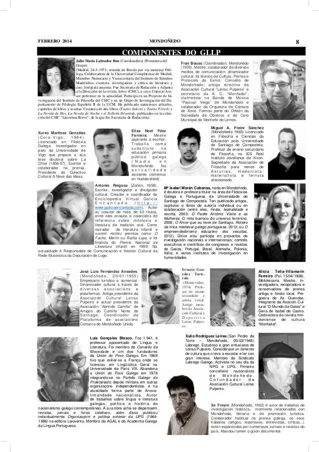 FEBRERO 2014  MONDOÑEDO  8  COMPONENTES DO GLLP Julia María Labrador Ben (Coordinadora) (Promotora del Grupo): (Madrid, 24...