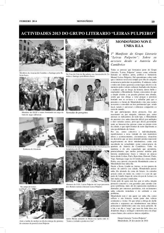 """FEBRERO 2014  MONDOÑEDO  10  ACTIVIDADES 2013 DO GRUPO LITERARIO """"LEIRAS PULPEIRO"""" MONDOÑEDO NON É UNHA ILLA 1º Manifesto ..."""