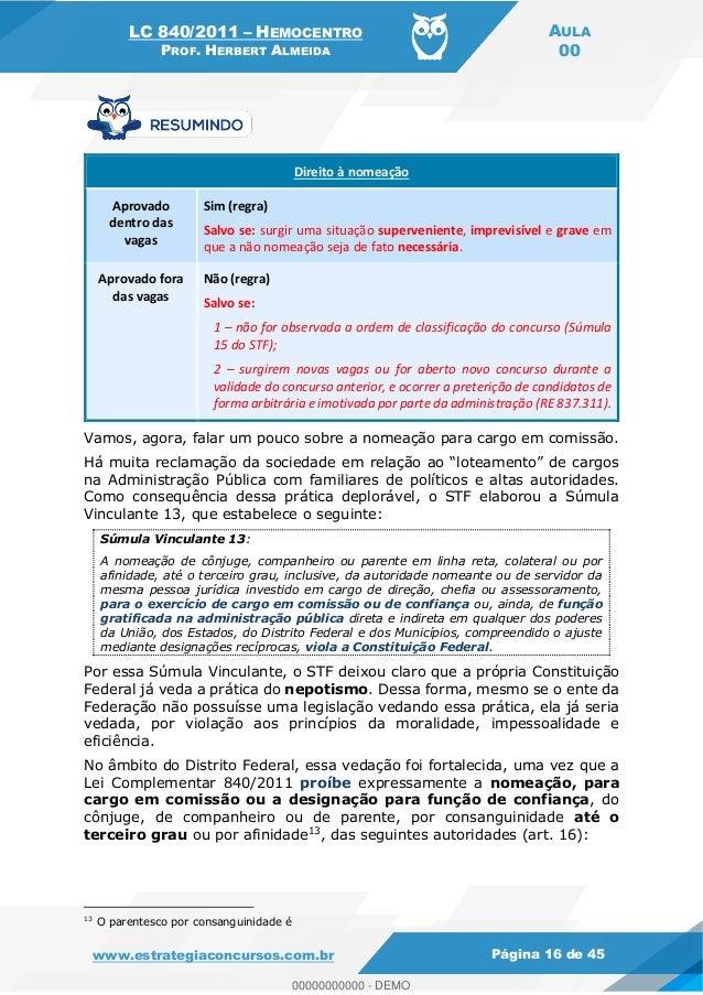 LC 840/2011 HEMOCENTRO PROF. HERBERT ALMEIDA AULA 00 www.estrategiaconcursos.com.br Página 16 de 45 Direito à nomeação Apr...