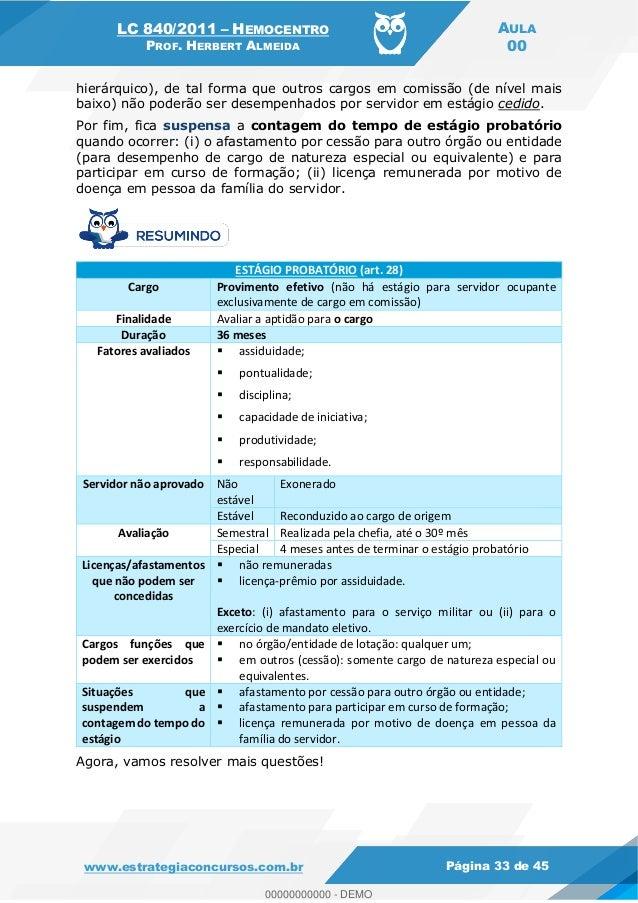 LC 840/2011 HEMOCENTRO PROF. HERBERT ALMEIDA AULA 00 www.estrategiaconcursos.com.br Página 33 de 45 hierárquico), de tal f...