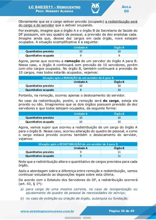 LC 840/2011 HEMOCENTRO PROF. HERBERT ALMEIDA AULA 00 www.estrategiaconcursos.com.br Página 36 de 45 Obviamente que se o ca...
