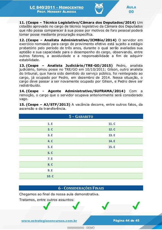 Legislação para  Concurso Hemocentro DF (LC 840/2011 e 4.990/2012)