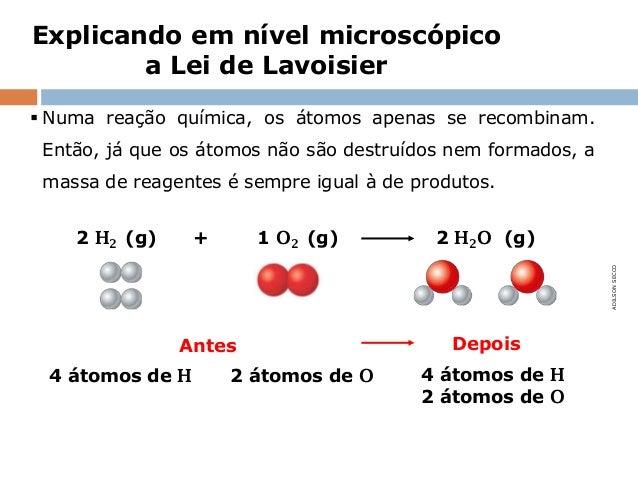 Explicando em nível microscópico        a Lei de Lavoisier Numa reação química, os átomos apenas se recombinam. Então, já...