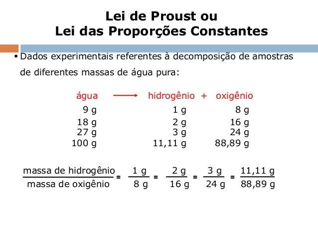 Lei de Proust ou        Lei das Proporções Constantes Dados experimentais referentes à decomposição de amostras de difere...