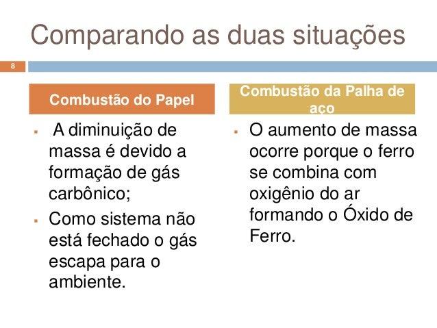 Comparando as duas situações8                                 Combustão da Palha de        Combustão do Papel             ...