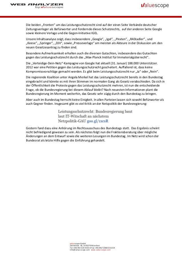 """Die beiden """"Fronten"""" um das Leistungsschutzrecht sind auf der einen Seite Verbände deutscherZeitungsverleger als Befürwort..."""