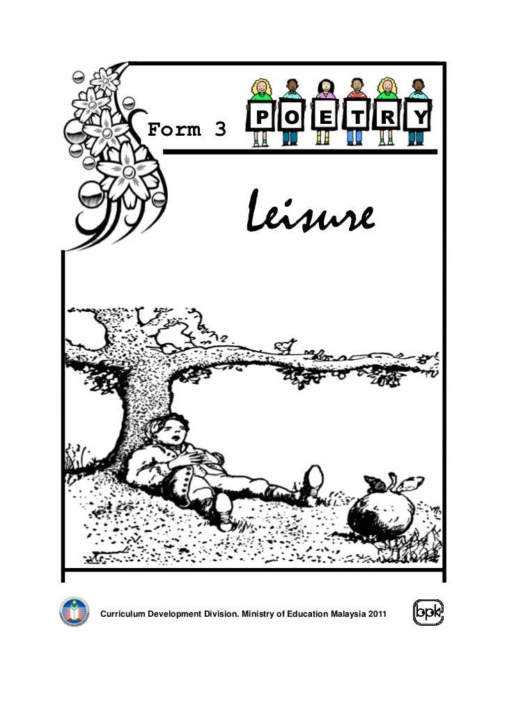 P O            E       T R         Y           Form 3                                  LeisureCurriculum Development Divis...