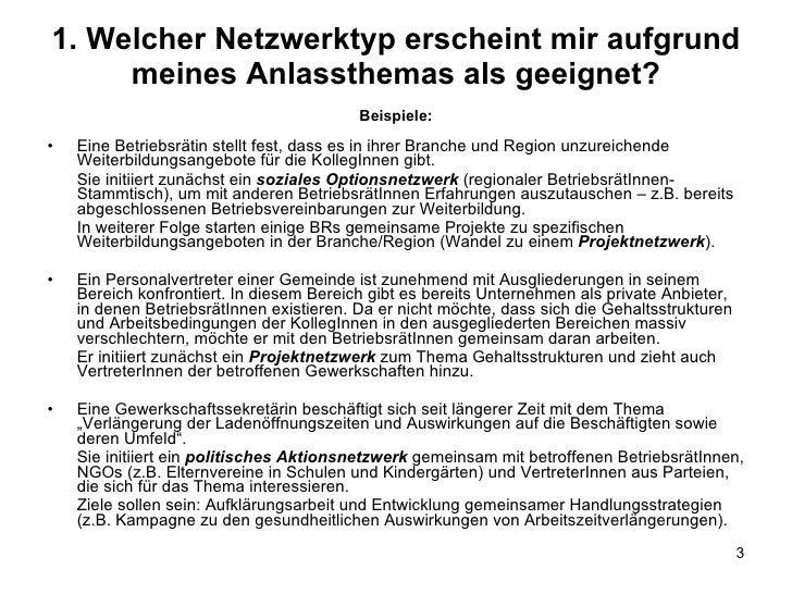 1. Welcher Netzwerktyp erscheint mir aufgrund meines Anlassthemas als geeignet? <ul><li>Beispiele: </li></ul><ul><li>Eine ...