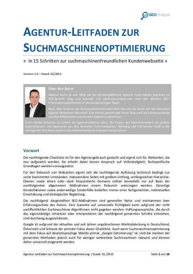 Agentur-Leitfaden zur Suchmaschinenoptimierung | Stand: 01 /2015 Seite 1 von 18 AGENTUR-LEITFADEN ZUR SUCHMASCHINENOPTIMIE...