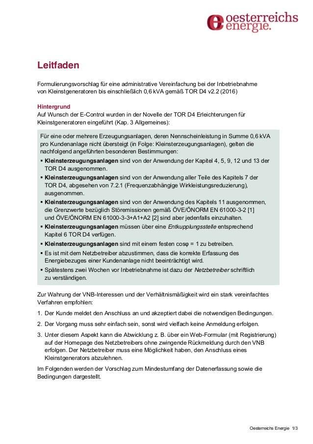 Oesterreichs Energie 1/3 Leitfaden Formulierungsvorschlag für eine administrative Vereinfachung bei der Inbetriebnahme von...