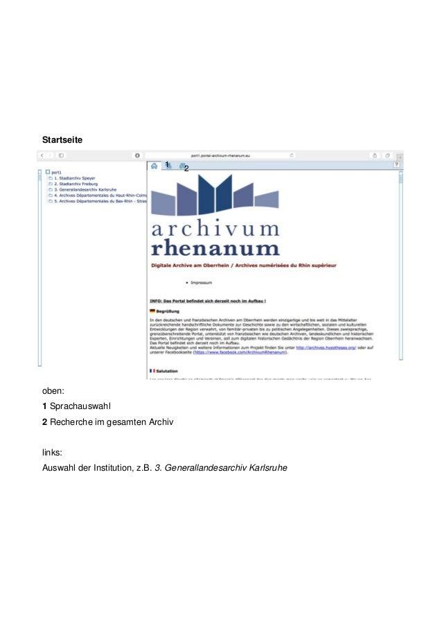 Startseite oben: 1 Sprachauswahl 2 Recherche im gesamten Archiv links: Auswahl der Institution, z.B. 3. Generallandesarchi...