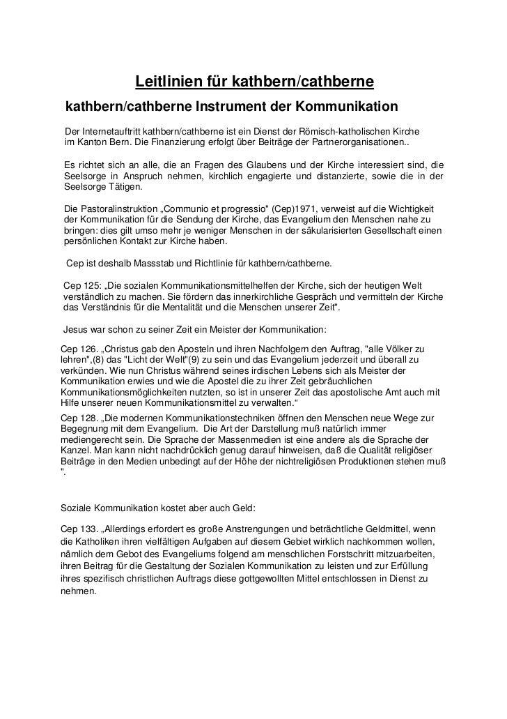 Leitlinien für kathbern/cathberne kathbern/cathberne Instrument der Kommunikation Der Internetauftritt kathbern/cathberne ...