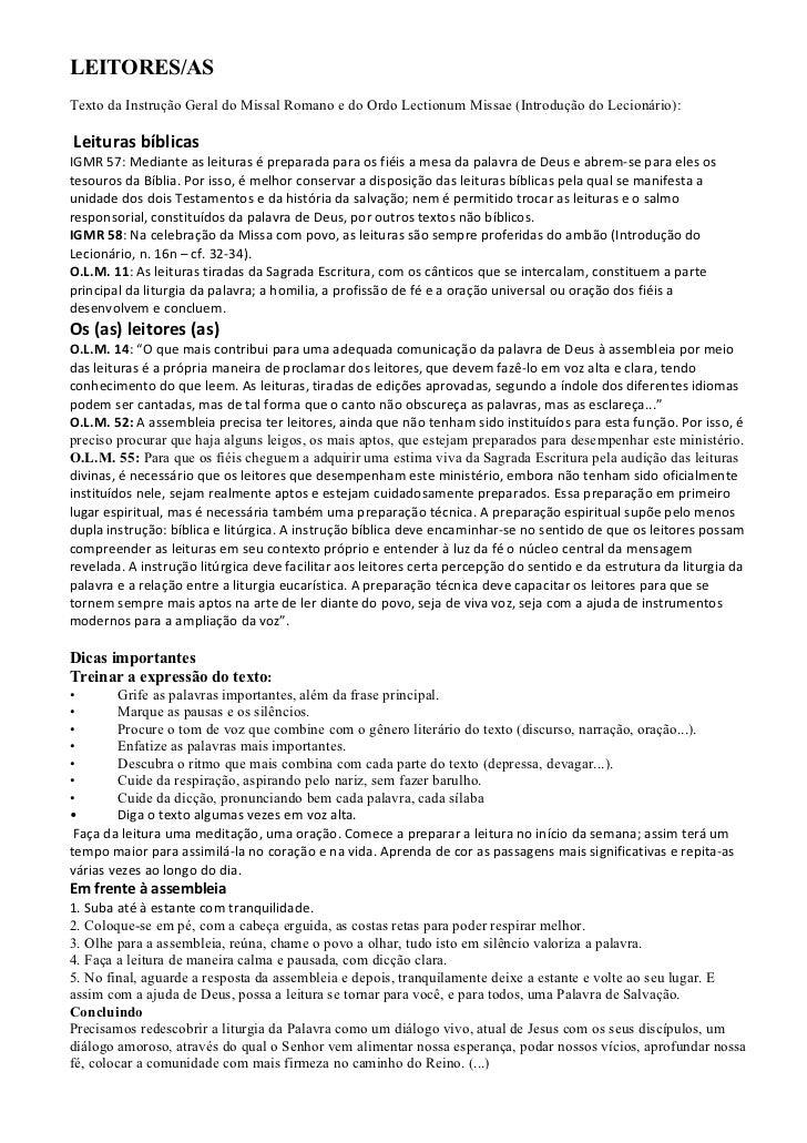 LEITORES/ASTexto da Instrução Geral do Missal Romano e do Ordo Lectionum Missae (Introdução do Lecionário):Leituras bíblic...