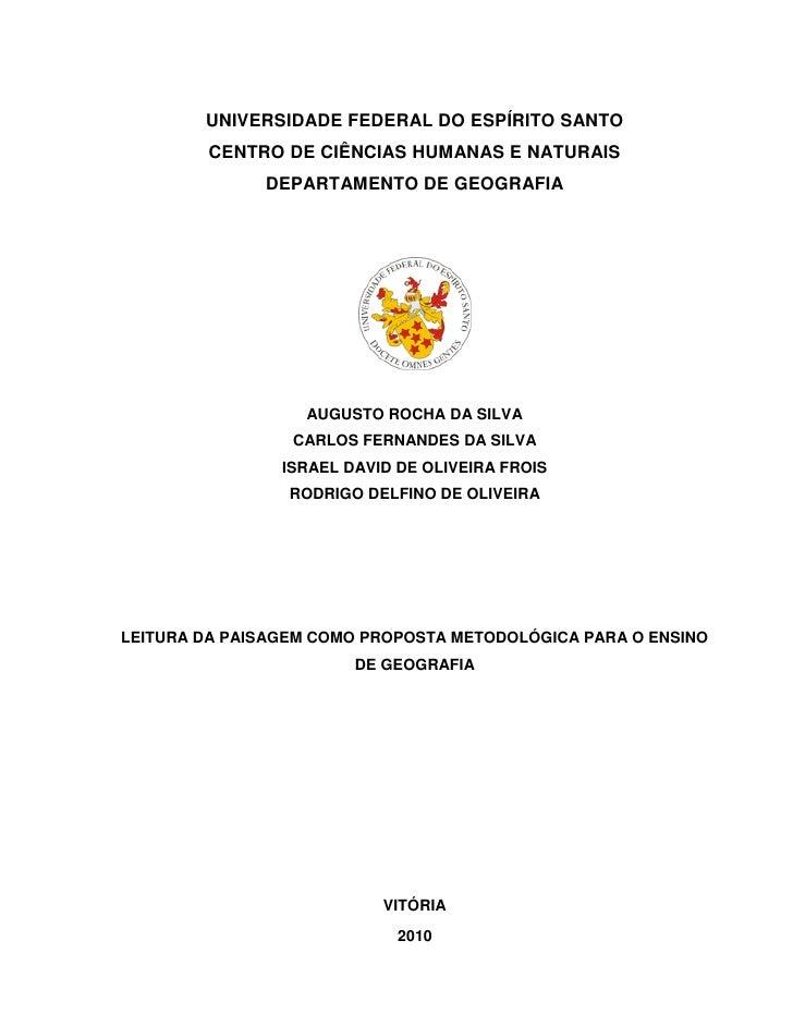 UNIVERSIDADE FEDERAL DO ESPÍRITO SANTO        CENTRO DE CIÊNCIAS HUMANAS E NATURAIS              DEPARTAMENTO DE GEOGRAFIA...