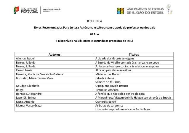 BIBLIOTECA Livros Recomendados Para Leitura Autónoma e Leitura com o apoio do professor ou dos pais 6º Ano ( Disponíveis n...