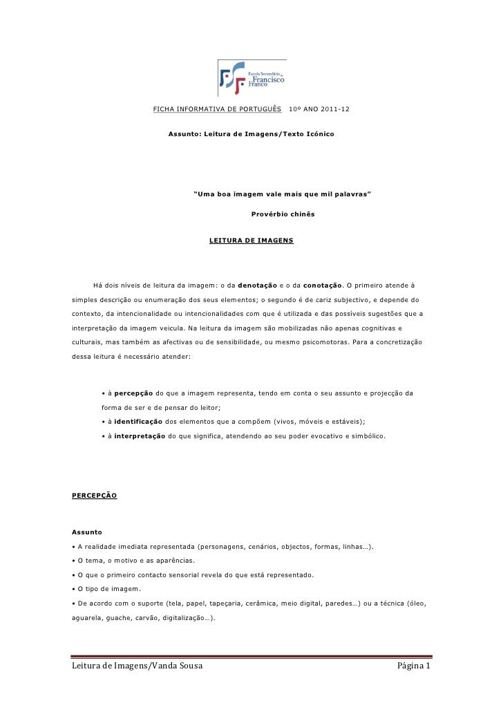 FICHA INFORMATIVA DE PORTUGUÊS          10º ANO 2011-12                            Assunto: Leitura de Imagens/Texto Icóni...