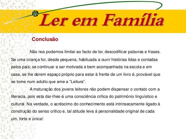 Leitura Infantil Acção De Formação Para Famílias Projeto