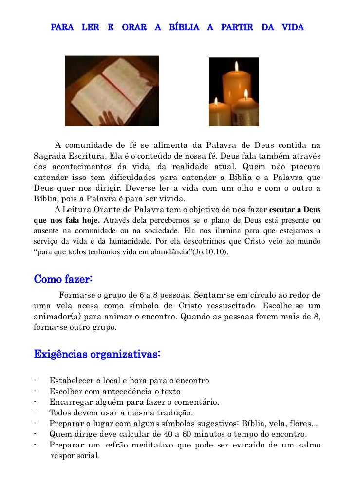 PARA LER        E   ORAR    A BÍBLIA A PARTIR            DA VIDA           A comunidade de fé se alimenta da Palavra de De...