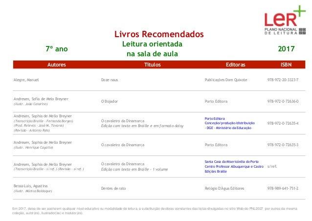Livros Recomendados 7º ano Leitura orientada na sala de aula 2017 Autores Títulos Editoras ISBN Alegre, Manuel Doze naus P...