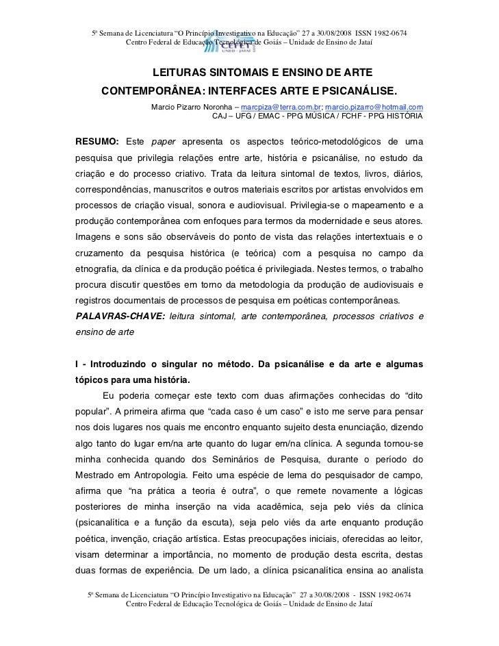 """5ª Semana de Licenciatura """"O Princípio Investigativo na Educação"""" 27 a 30/08/2008 ISSN 1982-0674              Centro Feder..."""