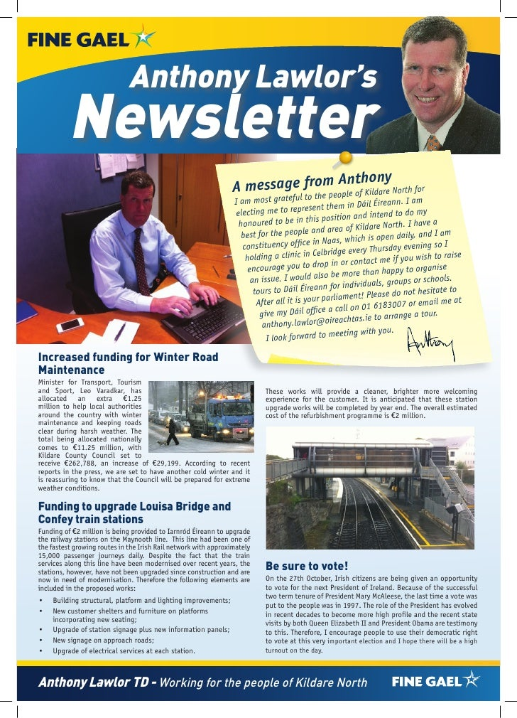 Anthony Lawlor's          Newsletter                                                                 A           om Ant on...