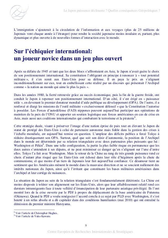 9 Centre Européen de Recherches Internationales & Stratégiques L'immigration s'ajouterait à la circulation de l'informatio...