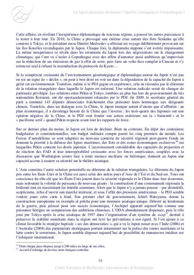10 Centre Européen de Recherches Internationales & Stratégiques Cette affaire, en révélant l'inexpérience diplomatique du ...