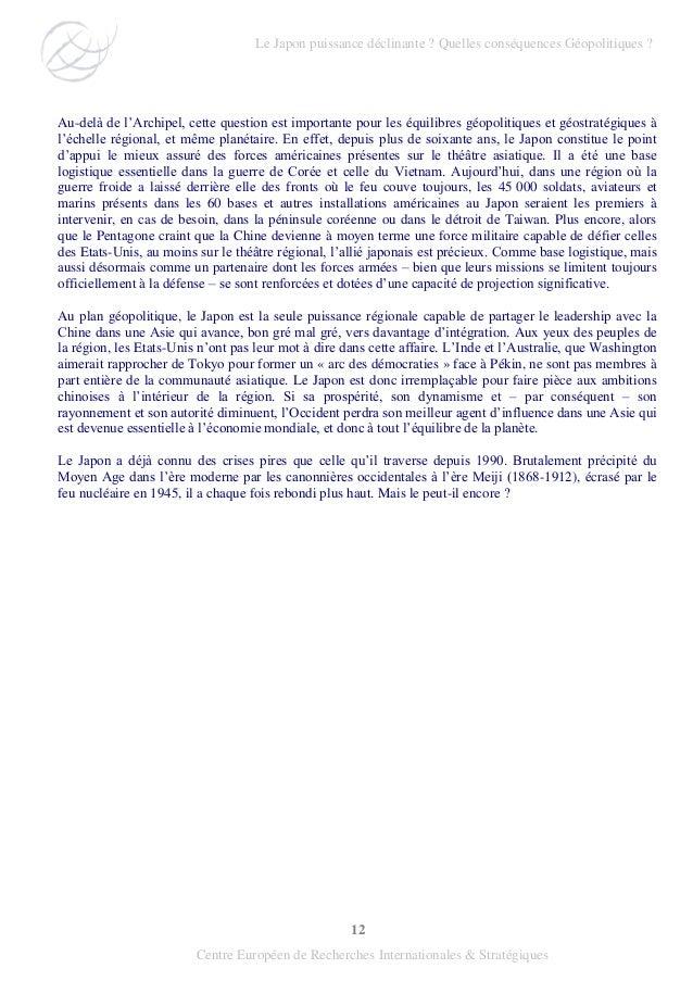 12 Centre Européen de Recherches Internationales & Stratégiques Au-delà de l'Archipel, cette question est importante pour ...