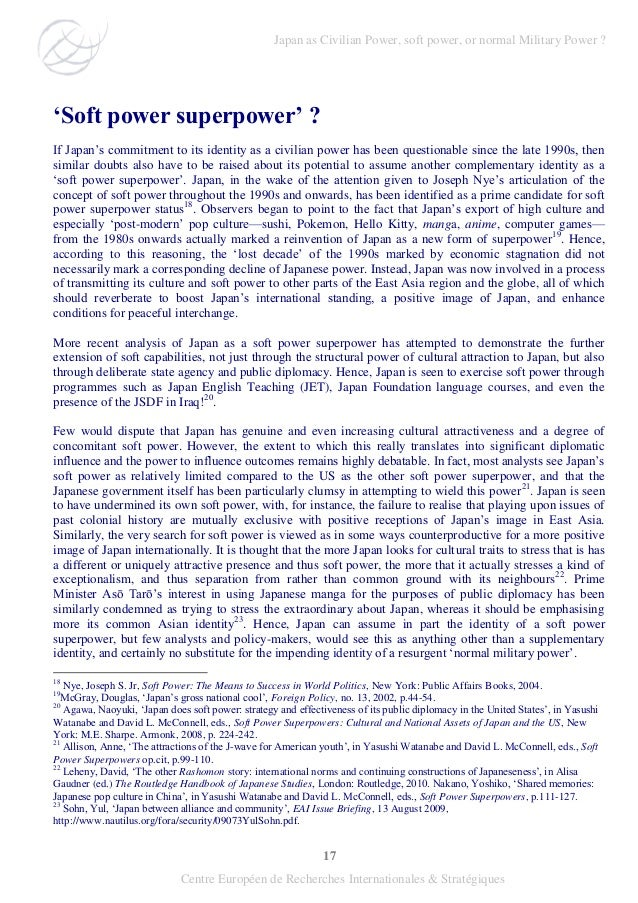 """17 Centre Européen de Recherches Internationales & Stratégiques """"Soft power superpower"""" ? If Japan's commitment to its ide..."""