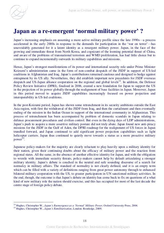 """18 Centre Européen de Recherches Internationales & Stratégiques Japan as a re-emergent """"normal military power"""" ? Japan's i..."""