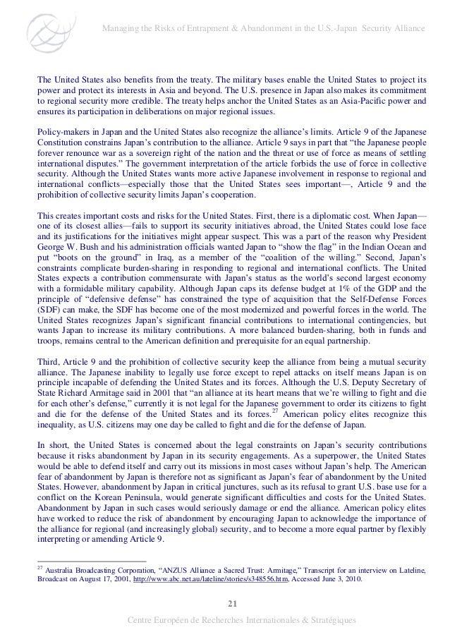 21 Centre Européen de Recherches Internationales & Stratégiques The United States also benefits from the treaty. The milit...