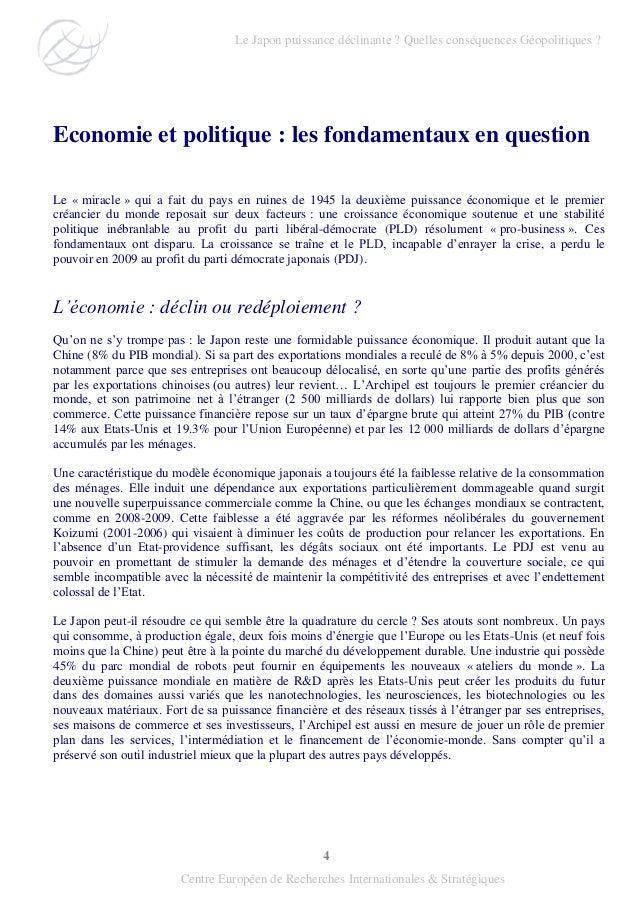 4 Centre Européen de Recherches Internationales & Stratégiques Economie et politique : les fondamentaux en question Le « m...